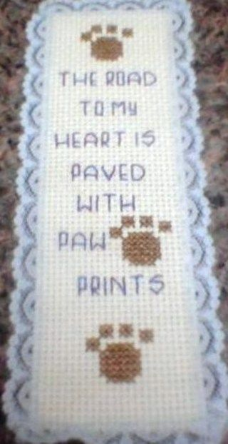 cross stitch paw print handmade bookmark
