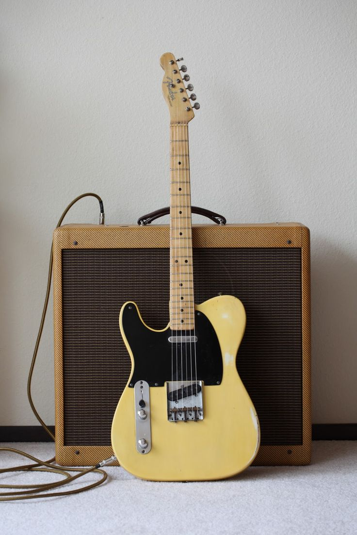 "Vintage '52 LEFT HANDED Telecaster. Wow. I believe the amp is a Fender Bandmaster, the same kind Pete Townshend used on ""Won't Get Fooled Again"""