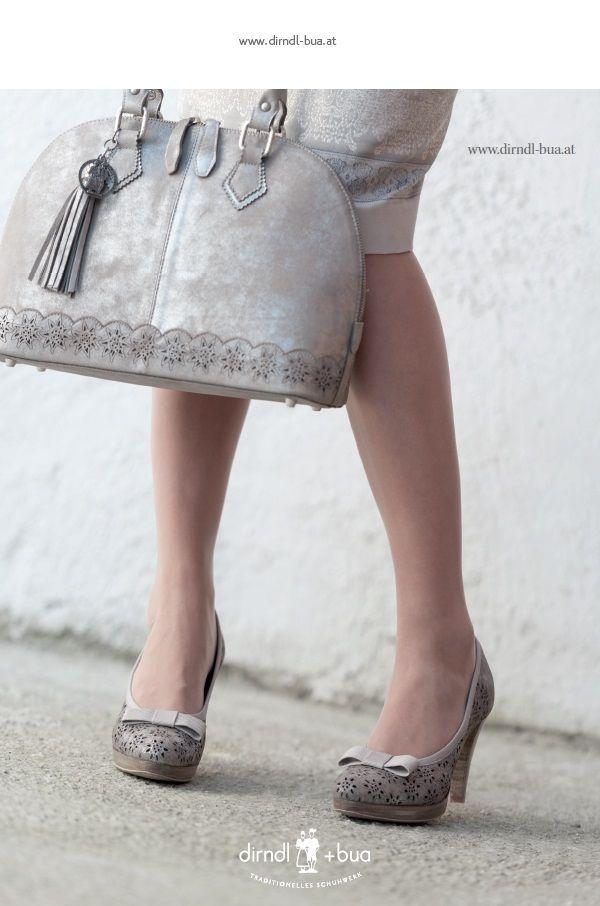 dirndl+bua Pumps und Tasche Elena in taupe/silber