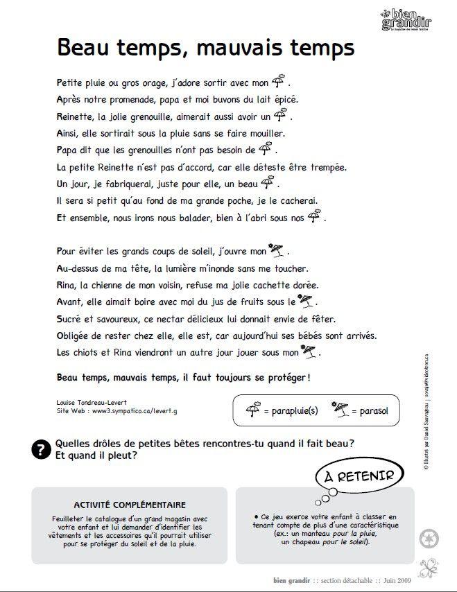 Beau temps, mauvais temps : une histoire en texte et en images pour enfant de 1 à 5 ans. Téléchargez et imprimez le conte. #enfant #conte