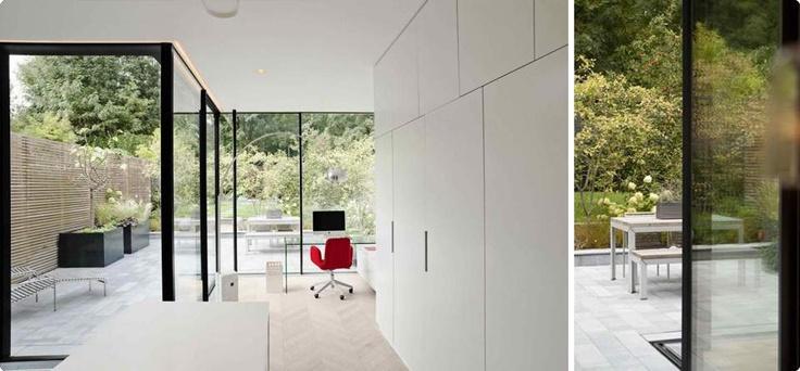 Sky-Frame Sliding Doors create a light and peaceful home office.  #SkyFrame