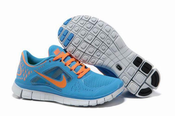 I7Ioi Nike Free Run 3 Women's Running Shoes Blue Glow/Platinum-Total Orange