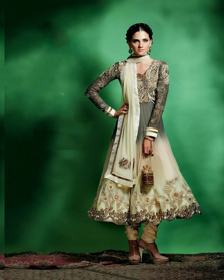 An Elegant combination of glamours grey with traditional gold patterns on   soft net'Anarkali'