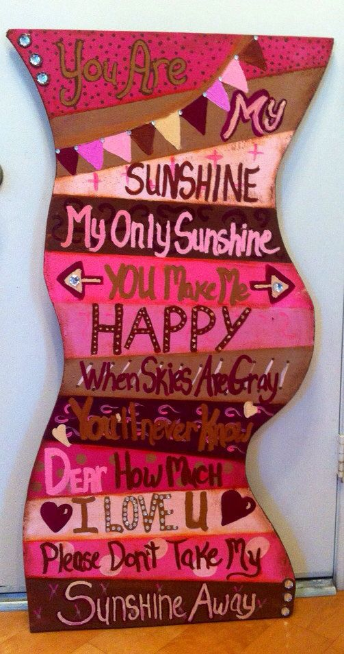 Pink & Brown Baby Girl Nursery Playroom You Are My Sunshine Wall Hanging