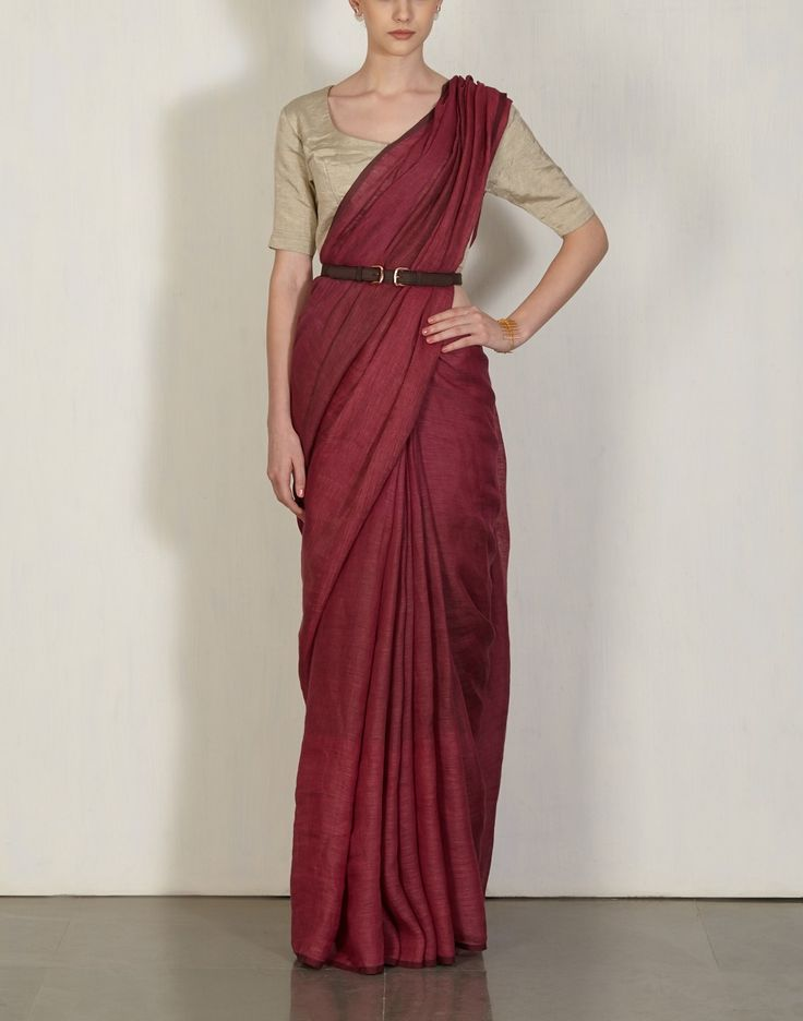 Buy Beetroot Yarn Dye Sari Available at Ogaan Online Shop