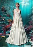 comprar Vestidos de boda de Tulle Chic Jewel escote sirena con flores hechas a mano US 4 de descuento en Dressilyme.com