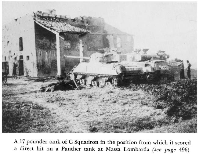 A 17-POUNDER TANK OF C SQUADRON IN THE POSITION FROM WHICH IT SCORED A DIRECT HIT ON A PANTHER TANK AT MASSA LOMBARDA
