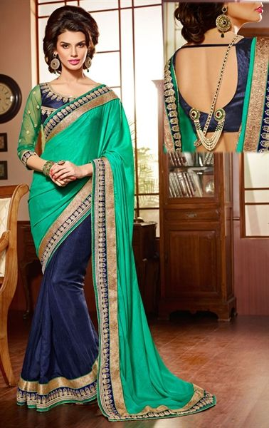 Glorious Green and Blue Color Saree for Wedding