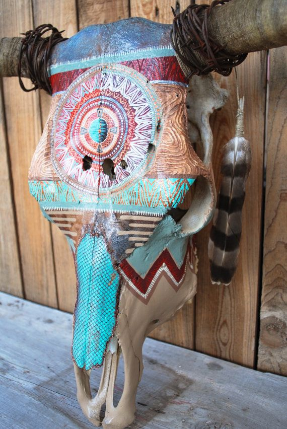 Painted Steer Cow Skull / Rustic Turquoise & Red / by Carmadilla