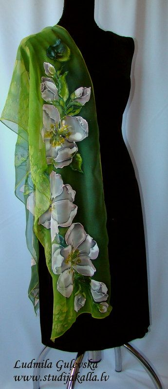 Natural silk shawl floral apple blossom green by Studijakalla