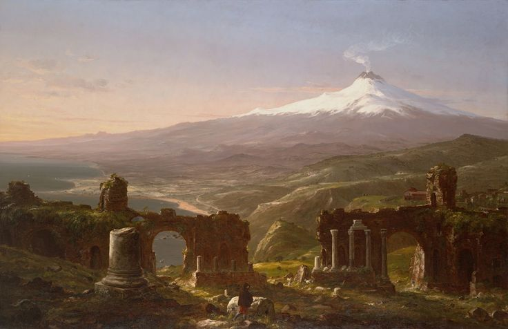 Thomas Cole American, 1801-1848 Mount Etna from Taormina, 1843. Oil on canvas. 78 5/8 x 120 5/8 in.  Purchased from the artist by Daniel Wadsworth for the Wadsworth Atheneum, assisted by Alfred Smith. 1844.6