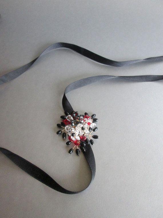 Pequeño cinturón negro, faja cinturón nupcial, marco de piedras preciosas de cristal nupcial, ónix negro y cinturón de cristal de Swarovski, negro, rojo y blanco