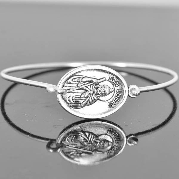 St Jude Bracelet Bangle, Catholic Jewelry, Sterling Silver Bangle, Sterling Silver Bracelet, by JubileJewel on Etsy
