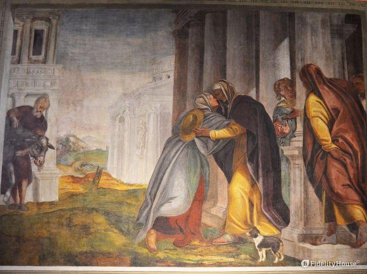 Il Vangelo di Luca narra che Maria va in fretta ad aiutare Elisabetta, che nonostante l'età, attende un figlio. Da questo abbraccio scaturisce il Magnificat di Maria.