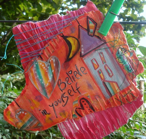 "WALL ART DÉCOR  MIXED MEDIA CARDBOARD PAINTING  ""BELIEVE IN YOURSELF…"""