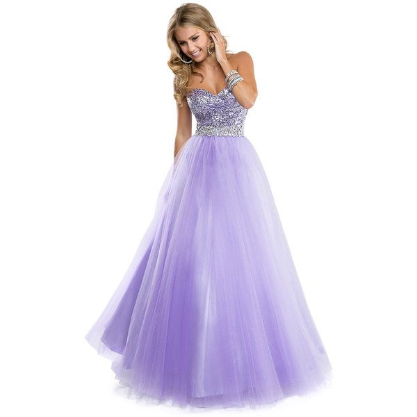 Ball Gown in Tulle with Sparkling Bodice | by FLIRT ❤ liked on Polyvore featuring dresses, gowns, long dresses, prom dresses, sequin gown, purple prom dresses, sparkly prom dresses and prom gowns