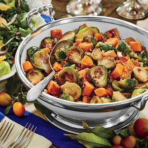 Caramelized Sweet Potatoes and Brussels Sprouts | MyRecipes.com