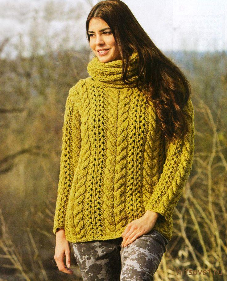 Пуловер женский и шарф-петля http://hitsovet.ru/pulover-zhenskij-i-sharf-petlya/