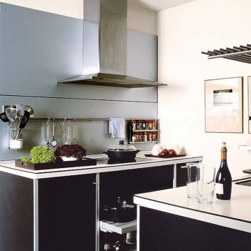 Hanging Rail Kitchen Storage With A Place For Spices And Utensils Right By  The Stove