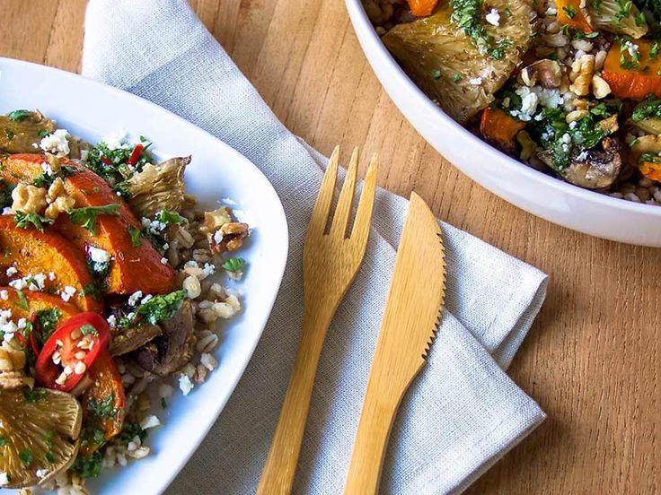 Recept Gerst met geroosterde pompoen en paddenstoelen | Ekoplaza