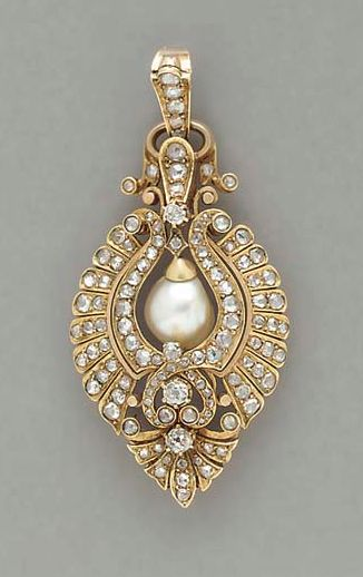 How cute would this look as a tikka?! ANTIQUE PEARL, DIAMOND AND GOLD PENDANT Numerous rose and old mine-cut diamonds, incalculable due to cut, H/I/J color, VS-SI clarity, circa 1860