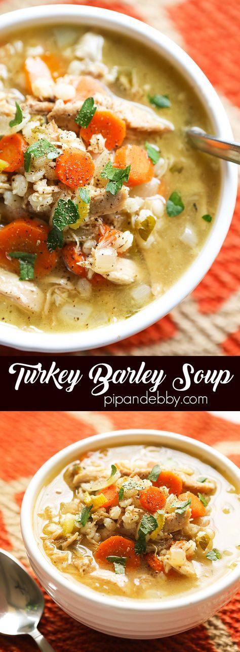 This slow cooker version of Turkey Barley Soup is comforting, hearty, healthy and totally delicious. It is a great way to use up leftover turkey or homemade turkey stock!