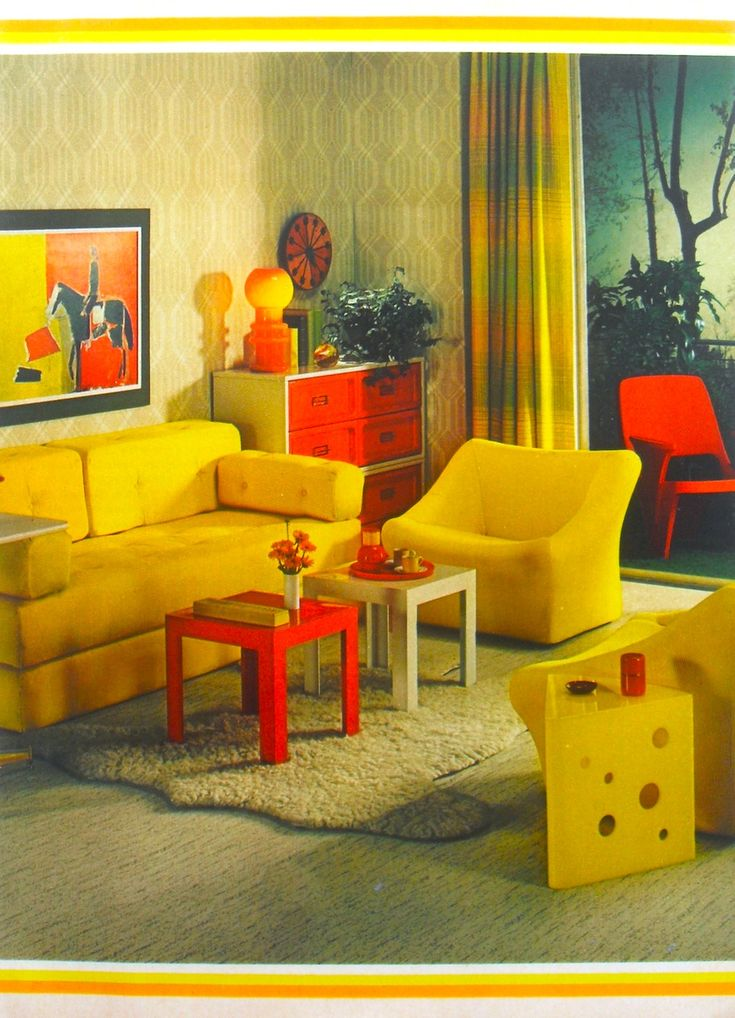 1972 interior design photo yellow and red furniture for 1970s living room interior design