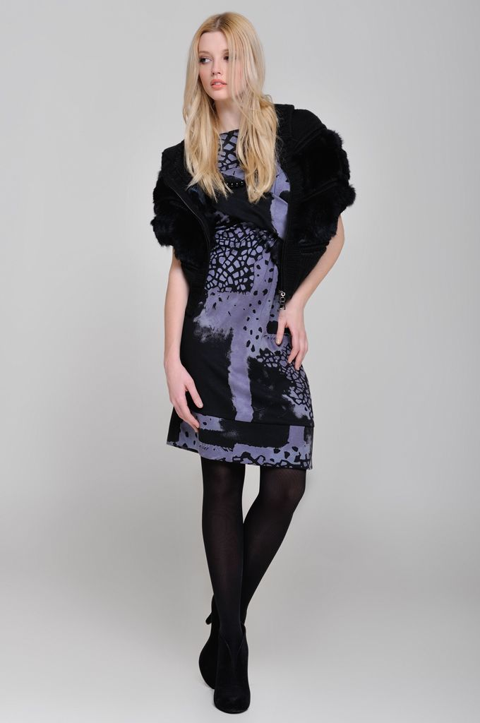 Sleeveless knitted cardigan with real fur and hood, Jersey printed dress