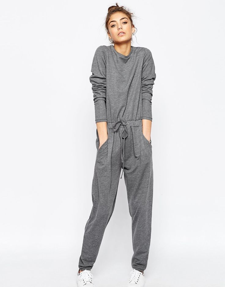 Image 1 of ASOS Jersey Jumpsuit with Long Sleeves and Drawstring Waist in Sweat