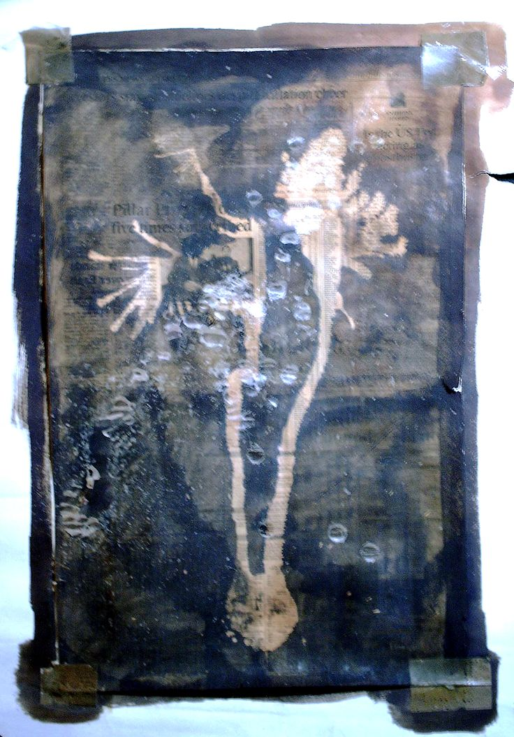 Experimental Piece with Ink and Wax on Newspaper | 1991