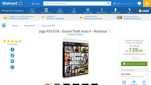 [Wal-Mart] Jogo PS3 GTA - Grand Theft Auto V - Rockstar 34763 - de R$ 210,88 por R$ 139,90 (33% de desconto)