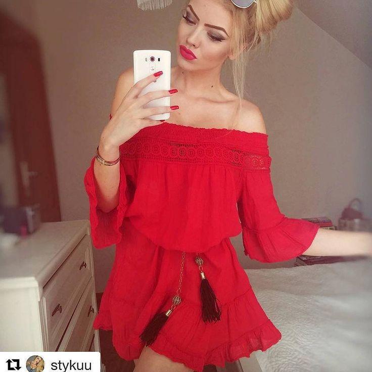 Zwiewna sukienka tunika boho z koronkowym ściągaczem AchVeverka.pl #achveverka #czerwonasukienka #sukienka #sukienkanalato #boho #dress #red #reddress