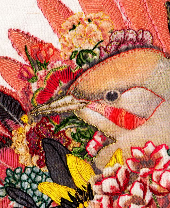 Embroidery - Laura McKellar.  This is a very cool series of embroidery on vintage adverts.
