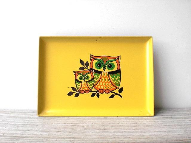 Vintage Owl Tray / Retro Kitchen / Yellow / Orange / Green / Folk Owl /