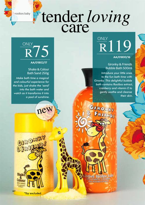 Annique September 2017 Beauté #Gironky and Friends Bubble Bath This specially formulated bubble bath contains soothing vitamin E, anti-inflammatory properties of Cranberry and Rooibos-extract for its potent natural antioxidant and anti-allergic properties. Shake and Colour Bath Sand Make bath time a magical and colourful experience for the kids, just shake the 'sand' into the bath water and watch as it transforms it into a pool of sunshine.