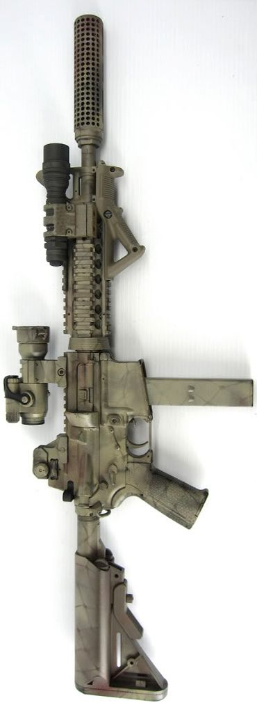 AR-15 in 9mm with Knight's Armament Company UK Rail Adapter System (RAS) and LMT SOPMOD stock