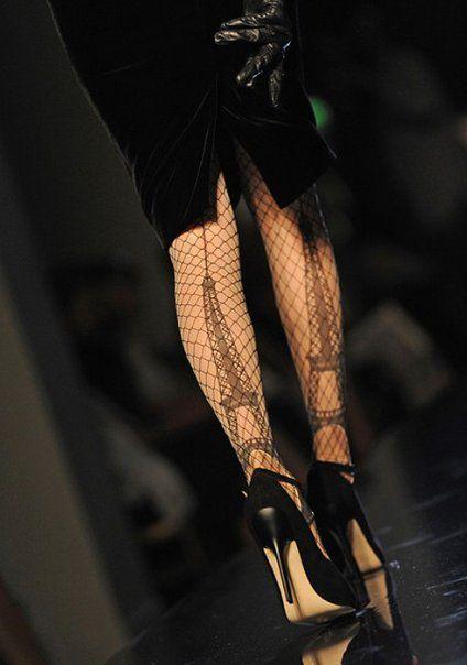 La tour Eiffel fishnets.Paris, Tours Eiffel, Fashion, Style, Eiffel Towers, Jeans Paul Gaultier, Black Heels, Legs, Tights
