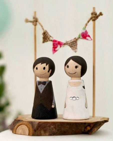 Wedding Wooden Peg Doll Cake Topper with Bunting by littledollsUK, £35.00