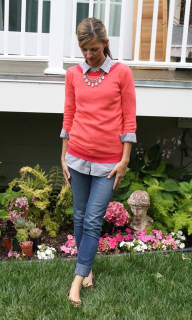 coral sweater with chambray and necklace