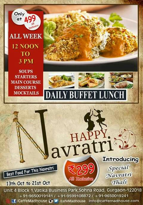 Have a pleasant start to your day as Caffe Mad House is never out of options when it comes to treating your taste buds as we offer delicious Lunch Buffet and Navratri Thali. Come grab your plate!! #BuffetLunch #NavratriThali #Foodiesm