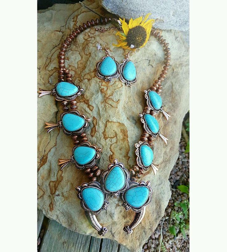 COWGIRL Southwest Copper tone Turquoise SQUASH BLOSSOM Western NECKLACE SET #southwesternstyle #cowgirlbling #squashblossomlove