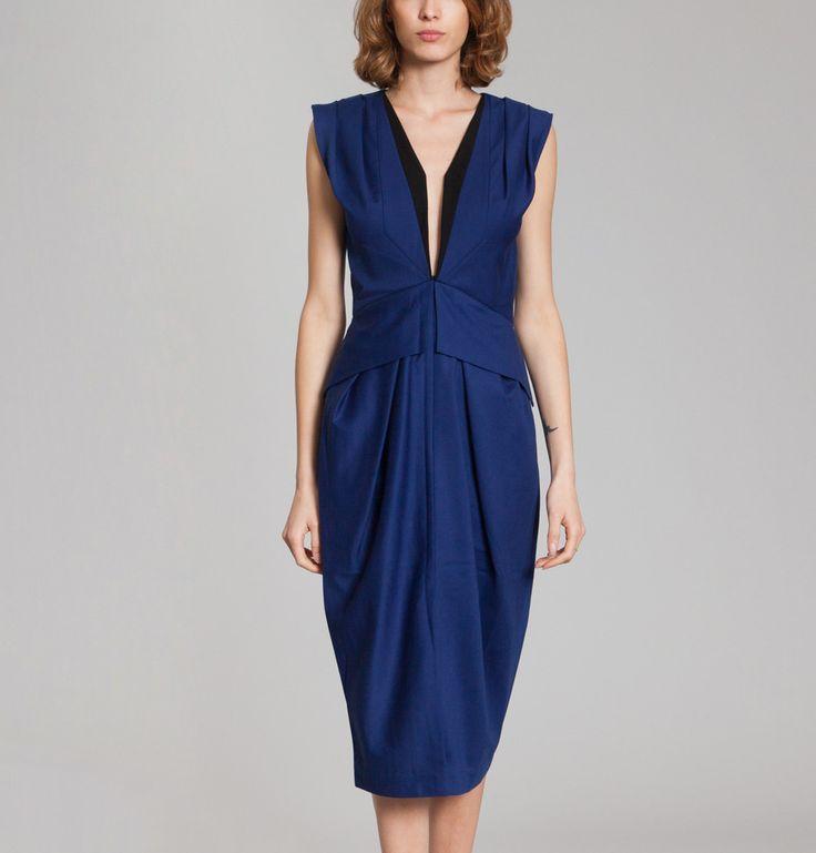 Robe Taille Haute à Plis Bleu Marine Nathalie Fordeyn en vente chez L'Exception