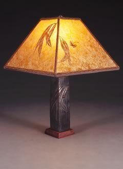 Wildlife Accent Lamp, Amber Mica Square Lampshade, Eucalyptus & Ladybug Design
