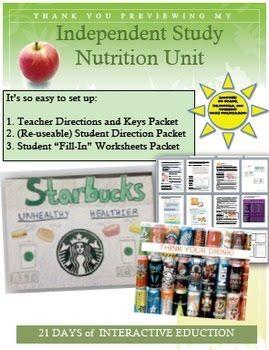 http://www.teacherspayteachers.com/Product/Independent-Study-Nutrition-Unit-1590864