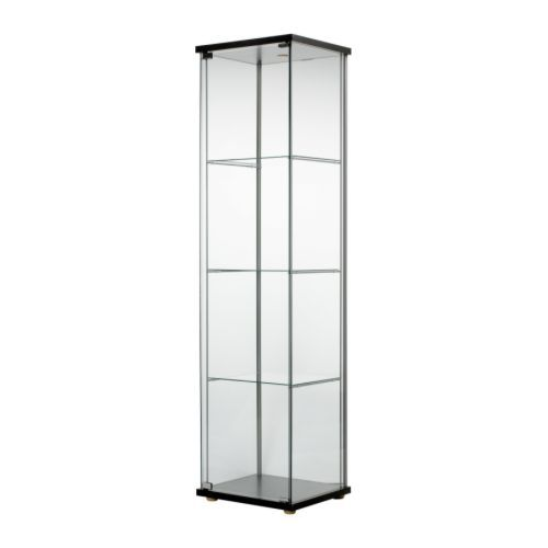 DETOLF Glass-door cabinet - black-brown - IKEA