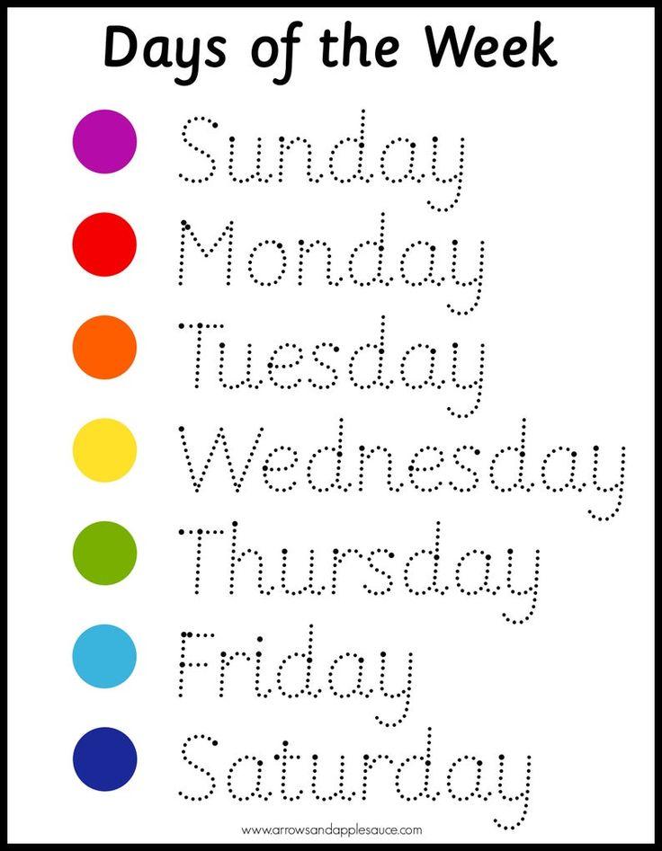 Montessori Days Of The Week Wheel & Tracing Worksheet ...