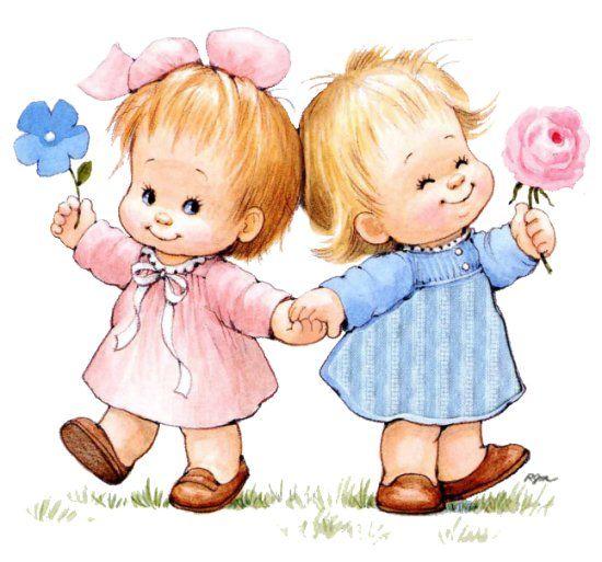 Картинки детские две девочки