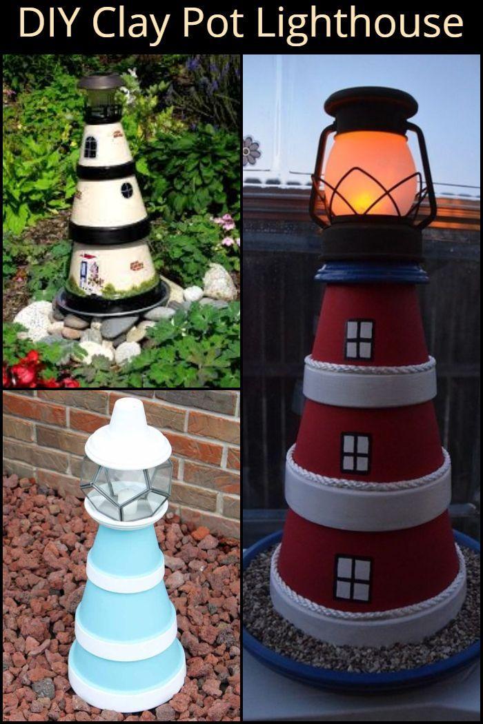 Diy Clay Pot Lighthouse Clay Pot Lighthouse Clay Pots Painted Flower Pots