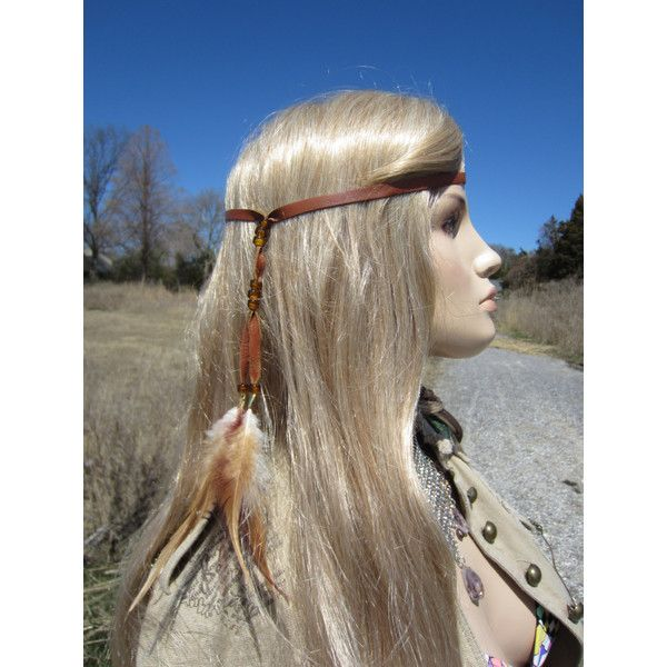 Feather Headband Hair Extension Brown Leather Wrap Ponytail Holder ($18) ❤ liked on Polyvore featuring accessories, hair accessories, grey, headbands & turbans, turban headband, boho headbands, hair extension headband, head wrap hair accessories and wrap headbands