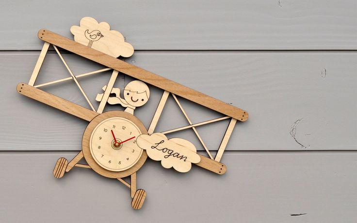 personalized name wooden airplane clock baby nursery kids